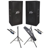 Peavey 00570800 PV 112 Two-Way Speaker System with Stands and Cables