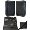 "(2)Peavey DM115 15"" 1000W+ Powered PA System & PV14AT Mixer w/Antares AutoTune"
