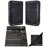 "(2)Peavey DM115 15"" 1000W Powered PA System & PV14AT Mixer with Antares AutoTune"