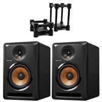 Pioneer BULIT6 - 6 Inch Powered Pro DJ, Studio Monitoring Speaker (Pair) with IsoAcoustics ISO-L8R155 Medium-Sized Studio Monitor Isolators