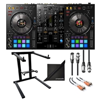 Pioneer DJ DDJ-800 2-Channel Rekordbox DJ Controller w/ AxcessAbles Laptop Stand, XLR Audio Cable, Hosa RCA Cable and eStudioStar Polishing Cloth