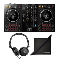 Pioneer DJ DDJ-400 Portable Rekordbox DJ Controller w/ Samson SR Headphones and eStudioStar Polishing Cloth
