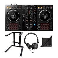 Pioneer DJ DDJ-400 Portable DJ Controller w/ Samson SR350 Headphones, AxcessAbles Foldable Laptop Stand and eStudioStar Polishing Cloth