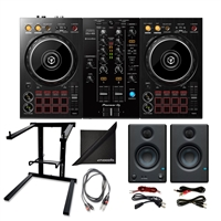 Pioneer DJ DDJ-400 Portable DJ Controller w/ AxcessAbles Foldable Laptop Stand, TS Audio Cable, PreSonus Eries 3.5 Studio Monitoring Speakers and eStudioStar Polishing Cloth