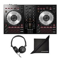 Pioneer DJ DDJ-SB3 Portable 2-Channel Serato DJ Lite Controller w/ AxcessAbles Stereo Headphones and eStudioStar Polishing Cloth