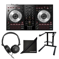 Pioneer DJ DDJ-SB3 Portable 2-Channel Serato DJ Lite Controller w/ AxcessAbles Stereo Headphones, Folding Laptop Stand and eStudioStar Polishing Cloth