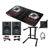 Pioneer DJ DDJ-SB3 Portable DJ Lite Controller w/ Presonus Monitoring Speakers, AxcessAbles Folding Laptop Stand, TS Audio Cable and eStudioStar Polishing Cloth