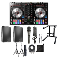Pioneer DDJ-SR2 Portable Controller w/ JBL Bluetooth Control Speaker, AxcessAbles Foldable Laptop Stand, XLR Audio Cable, Speaker Stands and eStudioStar Polishing Cloth