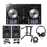 Pioneer DDJ-SR2 Portable 2-Channel Controller w/ *AxcessAbles Foldable Laptop Stand, XLR Audio Cable, Samson Stereo Headphones and PreSonus Monitoring Speaker