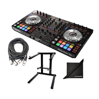 Pioneer DJ DDJ-SX3 Serato DJ Controller w/ AxcessAbles DJLTS-01 Folding Laptop Stand, XLR Audio Cables and Polishing Cloth