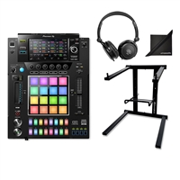 Pioneer DJ DJS-1000 Performance DJ Sampler w/ *AxcessAbles DJLTS-01 Foldable Laptop Stand, SR350 Stereo Headphones and eStudioStar Polishing Cloth