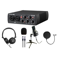 PreSonus AudioBox 25th Audio Interface w/ AxcessAbles Stereo Headphones, Condenser Microphone and Microphone Pop Filter