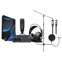 PreSonus AudioBox 25th 96k Studio USB 2.0 hardware/software Recording Kit w/ AxcessAbles Microphone Stand, Audio Cable and Microphone Pop Filter