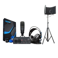 PreSonus AudioBox 25th 96k Studio USB 2.0 hardware/software recording kit w/ 	AxcessAbles SF-101KIT Recording Studio Microphone Isolation Shield With Stand