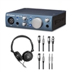 PreSonus AudioBox iOne Audio Interface w/ AxcessAbles Stereo Headphones and Audio Cables