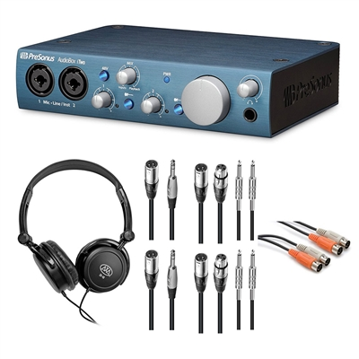 PreSonus AudioBox iTwo Audio Interface w/ AxcessAbles Stereo Headphones and Audio Cables