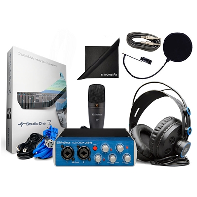 Presonus AudioBox Studio Bundle with Pop Filter, Instrument Cable, Headphones...