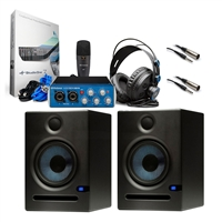 "Presonus AudioBox 96 Studio USB Recording Kit with 2 PreSonus Eris E5 High-Definition 2-way 5.25"" Near Field Studio Monitor and 2 Hosa STX115M 1/4-Inch TRS to XLR3M 15-Feet Balanced Interconnect Cable"