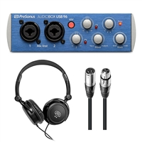 Presonus AudioBox USB Audio Interface with Samson SR350 and XLR-XLR20 Audio Cables (2)