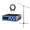 Presonus AudioBox USB 96 Recording Podcast interface with AxcessAbles XLR-XLR20 Audio Cable and AxcessAble MS-101 Microphone Stand