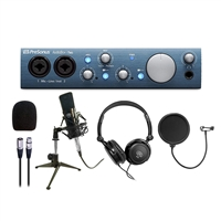 PreSonus ABiTWO AudioBox iTwo Audio Interface w/ AxcessAbles Microphone Pop Filter, Stereo Headphones and  Condenser Microphone