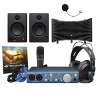 Presonus AudioBox iTwo Studio W/ Eris E4.5 Studio Monitoring Speakers, AxcessAble Isolation Shield - Complete Home Studio Package