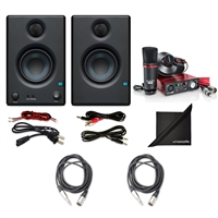 "PreSonus Eris E3.5 2-Way 3.5"" Monitoring Speakers (Pair) w/ Focusrite Scarlett Solo Compact USB Audio Interface (2nd Gen), 2 AxcessAbles  Audio Cables and eStudioStar Polishing Cloth"