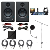 "PreSonus Eris E3.5 2-Way 3.5"" Studio Monitoring Speakers (Pair) w/ PreSonus Audiobox iTwo Studio, Axcessables Sheet Stand, Axcessables Audio Cables, Ess Windpop and eStudioStar Polishing Cloth"