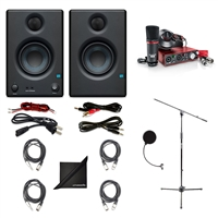 "PreSonus Eris E3.5 2-Way 3.5"" Studio Monitoring Speakers (Pair) w/ Focusrite Scarlett 2i2 USB Audio Recording Interface (2nd Gen) Studio Pack, Axcessables Cables, Windpop, Microphone Stand and eStudioStar Polishing Cloth"