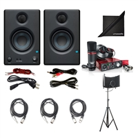 PreSonus Eris E3.5 2-Way Studio Monitoring Speakers (Pair) w/ Focusrite Scarlett Solo Compact USB Audio Interface (2nd Gen), AxcessAbles SF-101KIT Recording Studio Microphone Isolation Shield, Axcessables Audio Cables and eStudioStar Polishing Cloth