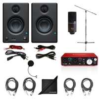 PreSonus Eris E3.5 2-Way Studio Monitoring Speakers (Pair) w/ MXL 770 Condenser Microphone, Focusrite Scarlett 2i2 USB Audio Interface (2nd Gen), AxcessAbles Windpop, Axcessables Audio Cables, AxcessAble Microphone Stand and eStudioStar Polishing Cloth
