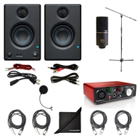 PreSonus Eris E3.5 2-Way Studio Monitoring Speakers (Pair) w/ MXL 770 Condenser Microphone, Focusrite Scarlett Solo USB Audio Interface (2nd Gen), AxcessAbles Windpop, Axcessables Audio Cables, AxcessAble Microphone Stand and eStudioStar Polishing Cloth