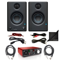"PreSonus Eris E3.5 2-Way 3.5"" Studio Monitoring Speakers (Pair) w/ Focusrite Scarlett SoloUSB Audio Interface (2nd Gen), AxcessAbles Audio Cables and eStudioStar Polishing Cloth"