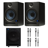 Presonus Eris E5 Studio Monitor with Presonus Temblor T10 Subwoofer and XLR Cables