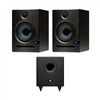 Presonus Eris E5 High-Definition 2-way 5.25' Near Field Studio Monitoring Speaker (Pair) with Temblor T8 Active 8' Studio Subwoofer