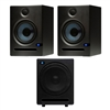 PreSonus Eris E5 High-Definition 2-way 5.25' Near Field Studio Monitoring Speaker (Pair) with Temblor T10 Active 10' Studio Subwoofer
