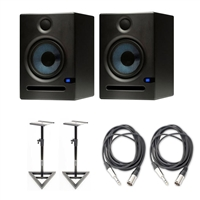 "PreSonus Eris E5 2-Way 5.25"""" Nearfield Studio Monitor Pair w/ Stands & Cables"