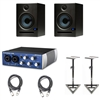 PreSonus Eris E5 5.25-inch 2-Way Nearfield Studio Monitor (Pair) w/ Presonus Audiobox USB, Cables & Stands