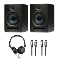 Presonus Eris E5 Pair - Pair of High-Definition 2-way 5.25 inch Near Field Studio Monitors + FREE Headphone + (2) XLR TO XLR CABLES 20FT ea