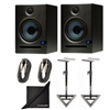 Presonus Eris E5 High-Definition 2-way 5.25' Near Field Studio Monitoring Speaker (Pair) with 2 Speaker Stands, 2 Instrument Cables and Polishing Cloth
