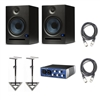 PreSonus Eris E8 8-inch 2-Way Nearfield Studio Monitor (Pair)  w/ Presonus Audiobox USB, Cables & Stands