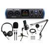 PreSonus Studio 24c Audio Interface w/ AxcessAbles Stereo Headphones, Condenser Microphone, Pop Filter and Boom Arm Stand