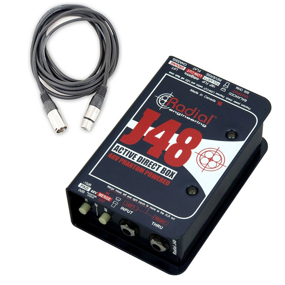 Radial Engineering J48 Single Channel Active Direct Box With Cable Xlr Wiring Phantom Power