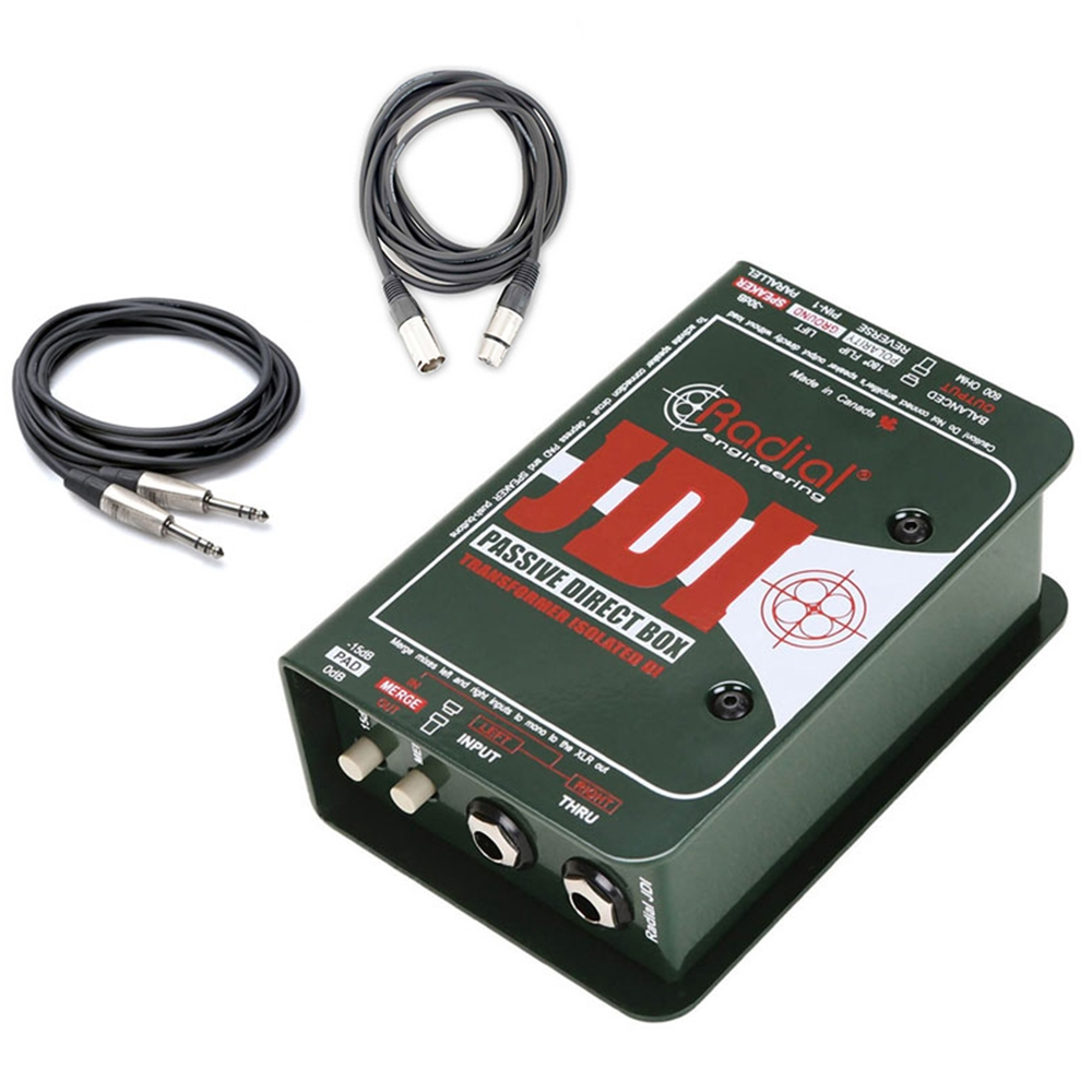 Radial Engineering JDI Mk3 - Professional Passive Direct Box with Jensen  Transformer with XLR Cable and TRS Male to 1/4