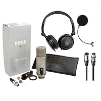 Rode Broadcaster Large-diaphragm Condenser Mic w/ Samson Headphones, Pop Filter