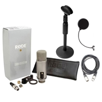 Rode Broadcaster Large-diaphragm Condenser Mic w/ AxcessAbles Desk Stand, Pop Filter & XLR Cable