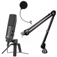 Rode NT-USB Podcast condenser Mic w/ Rode PSA1 Studio Boom Arm & Mic Pop Filter