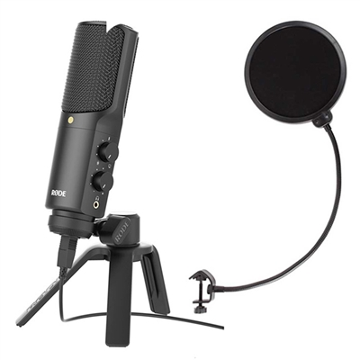 Rode NT-USB Recording, Podcast USB condenser microphone with Axcessables Windpop Universal Microphone Pop Filter
