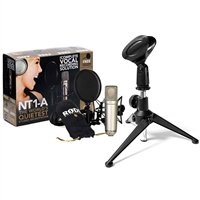 Rode NT1-A Cardioid Condenser Microphone Recording Package w/ AxcessAbles Desk Microphone Stand