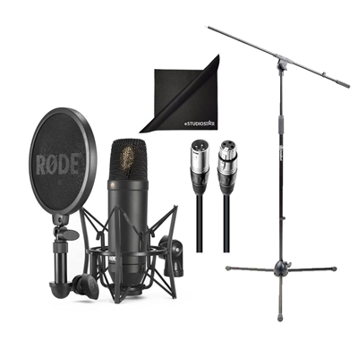 Rode NT1 Microphone w/Stand, Cable, SMR Shock Mount, Pop Filter, and Polishing Cloth